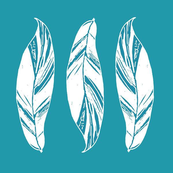 Digital Art - Three Ginger Leaves - Teal by Karen Dyson