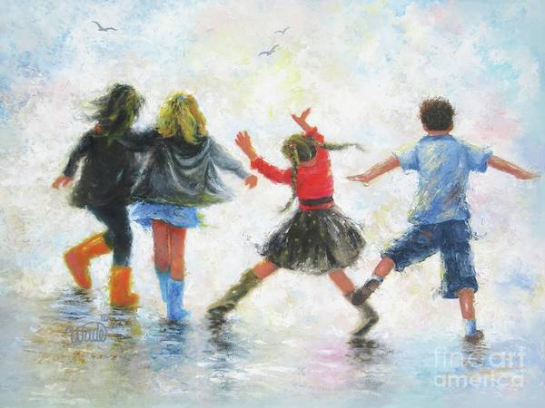 Wall Art - Painting - Three Girls And Boy by Vickie Wade