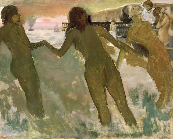 Degas Painting - Three Girls Bathing by Edgar Degas