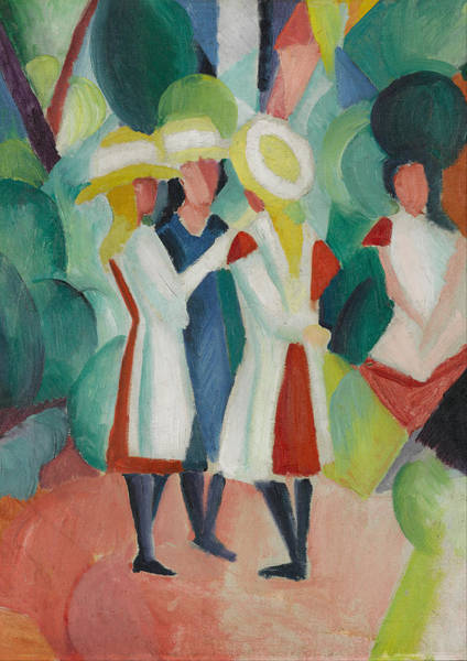 Painting - Three Girls In Yellow Straw Hats I by August Macke