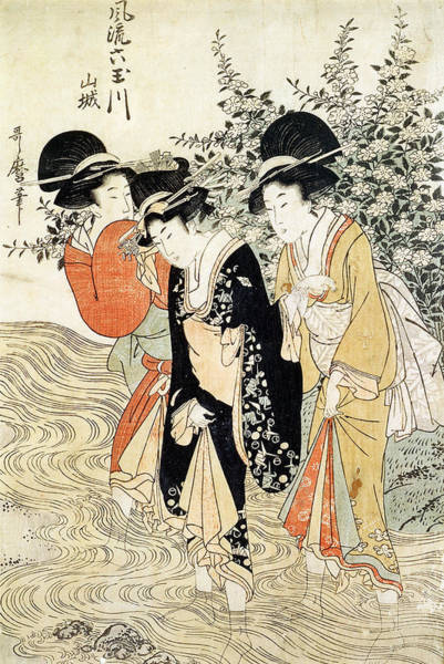 Six Painting - Three Girls Paddling In A River by Kitagawa Utamaro