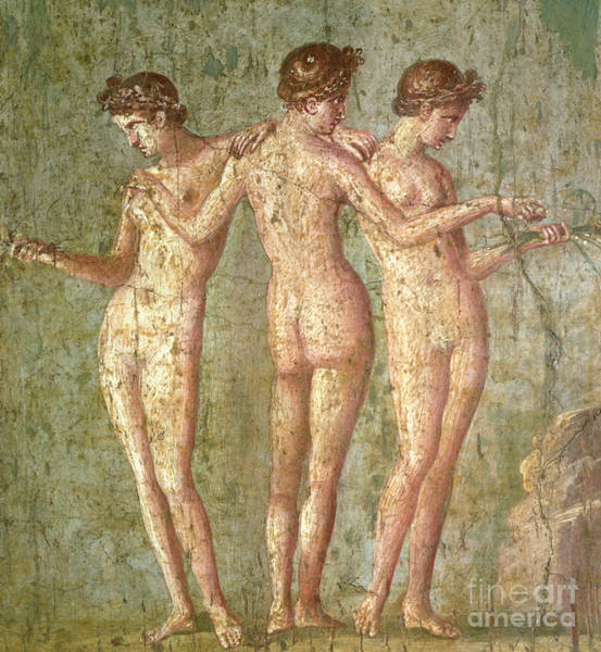 Wall Art - Painting - Three Graces, From Pompeii, Fresco, Roman, 1st Century Ad by Roman School