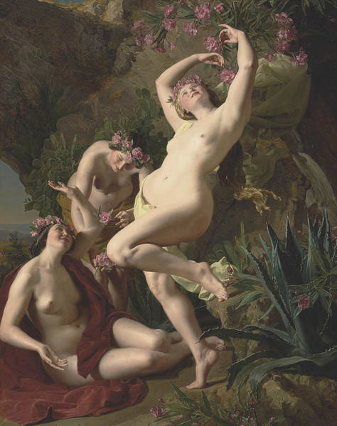 Painting - Three Graces Garlanded With Roses by Ferdinand Georg Waldmuller
