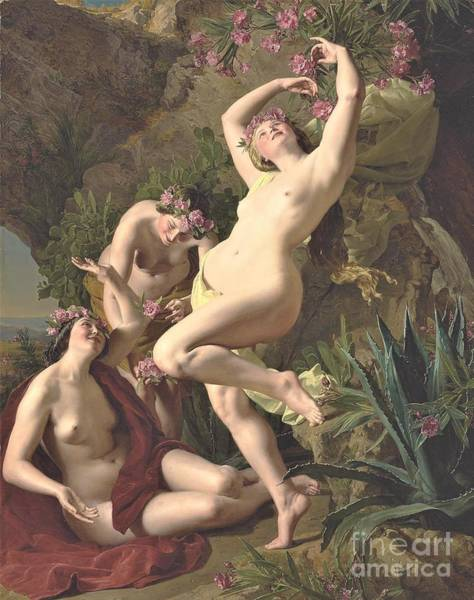Wall Art - Painting - Three Graces Rose Garlands by Pg Reproductions