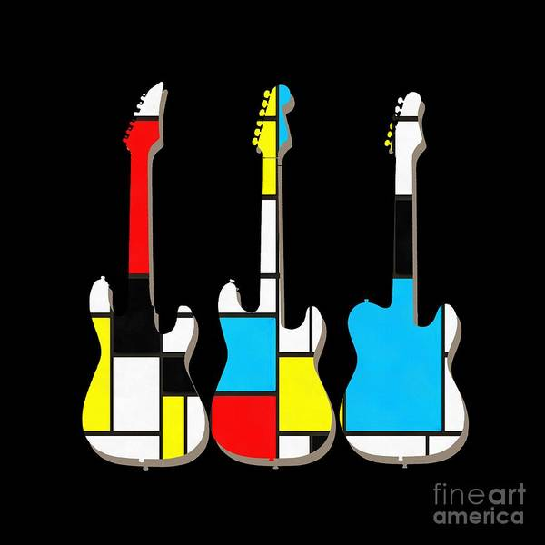 Painting - Three Guitars Modern Tee by Edward Fielding