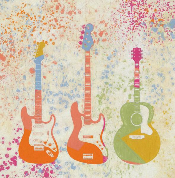Painting - Three Guitars Paint Splatter by Dan Sproul