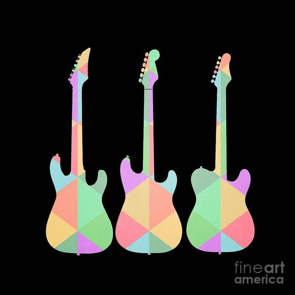 Guitars Painting - Three Guitars Triangles Tee by Edward Fielding