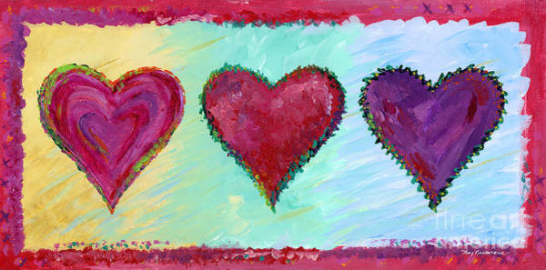 Wall Art - Painting - Three Hearts by Amy Kirkpatrick