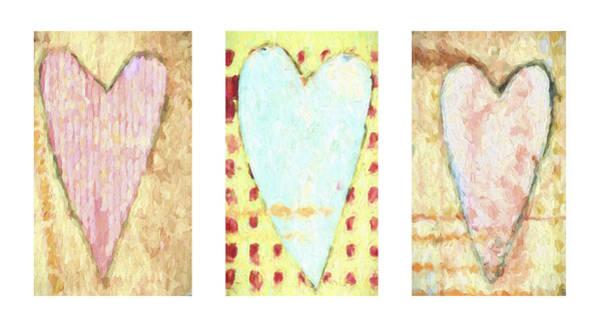 Wall Art - Mixed Media - Three Hearts Triptych by Carol Leigh
