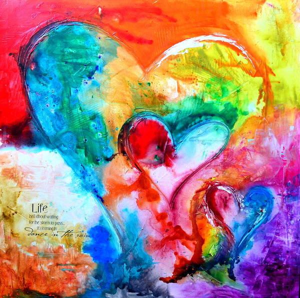 Wall Art - Mixed Media - Three Hearts by Ivan Guaderrama