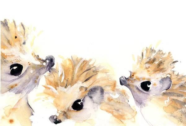 Painting - Three Hedgehogs by Dawn Derman