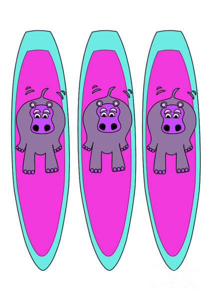 Digital Art - Three Hippos Surfing by Barefoot Bodeez Art