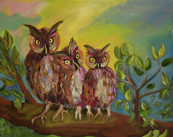 Painting - Three Hoots -hooters - Owls  by Jan Dappen