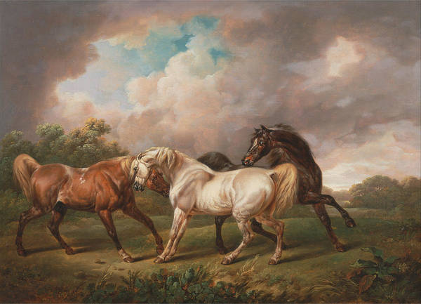 Painting - Three Horses In A Stormy Landscape 1836 by Joy of Life Art Gallery Charles Towne