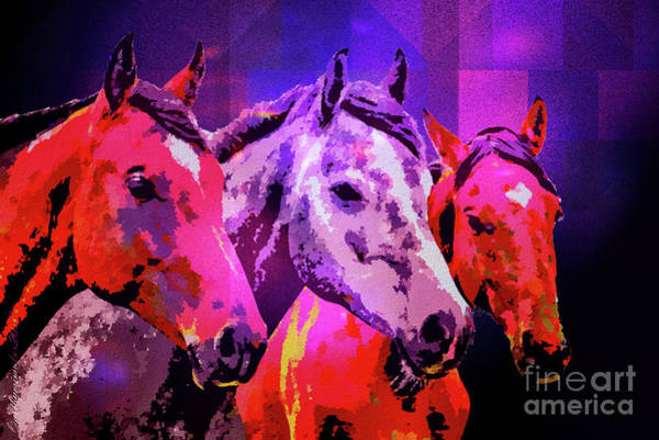 Digital Art - Three Horses by Mimulux patricia No