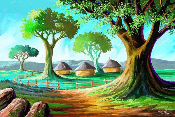 Uganda Painting - Three Huts by Anthony Mwangi