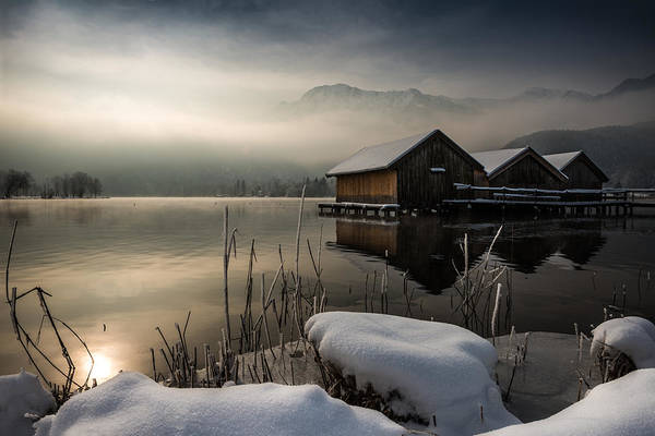 Fog Photograph - Three Huts by Nina Pauli
