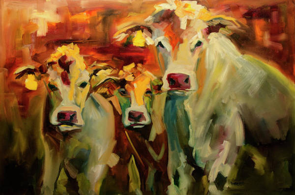 Wall Art - Painting - Three In A Row by Diane Whitehead
