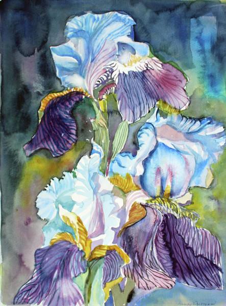 Wall Art - Painting - Three Irises by Mindy Newman