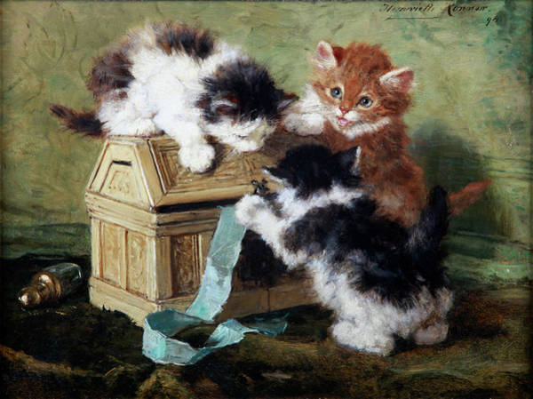 Crazy Cat Painting - Three Kittens With A Casket And A Blue Ribbon by Henriette Ronner-Knip