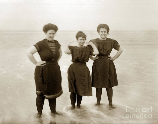 Photograph - Three Ladies Bathing In Early Bathing Suit On Carmel Beach Early 20th Century. by California Views Archives Mr Pat Hathaway Archives
