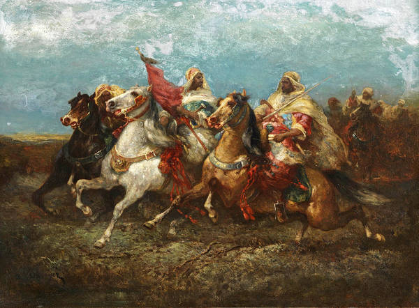 Wall Art - Painting - Three Left-riding Arabs With Entourage by Adolf Schreyer
