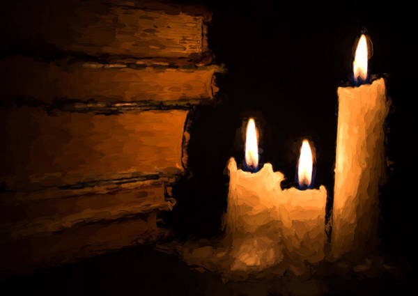 Photograph - Three Lit White Candles And Old Books by John Williams