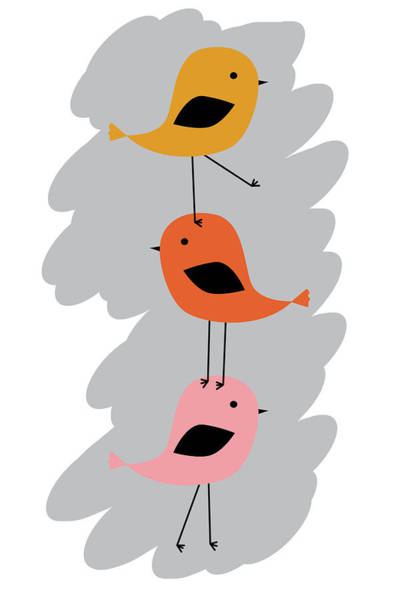 Vertical Line Digital Art - Colorful Three Little Birds  by Mihaela Pater