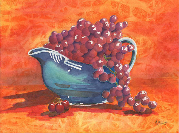 Pitcher Painting - Three Little Cherries by Marsha Elliott