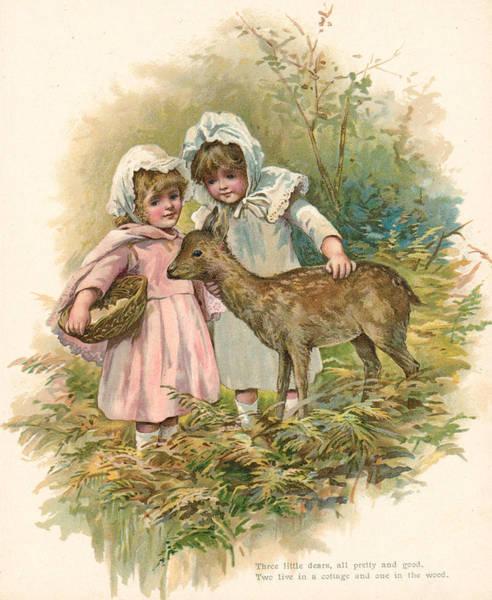 Deer Drawing - Three Little Dears by English School