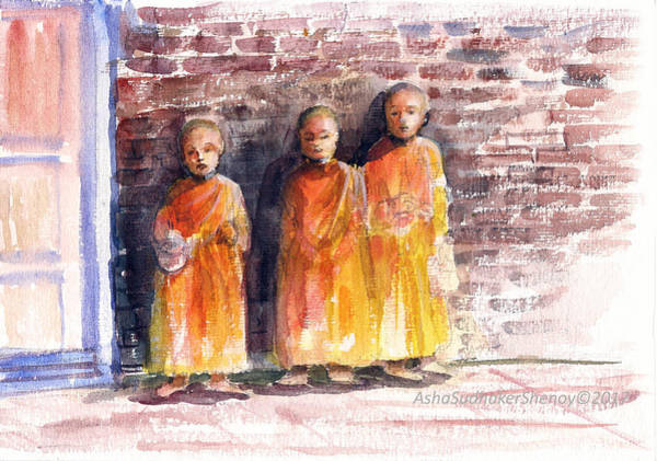 Painting - Three Little Monks by Asha Sudhaker Shenoy