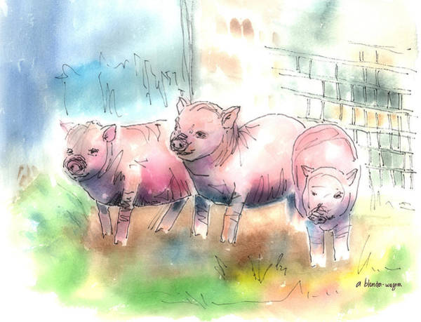 Pen And Ink Mixed Media - Three Little Pigs by Arline Wagner