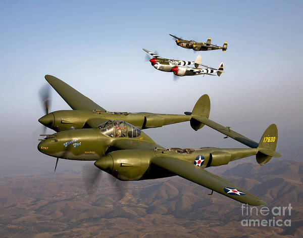 Airborne Photograph - Three Lockheed P-38 Lightnings by Scott Germain