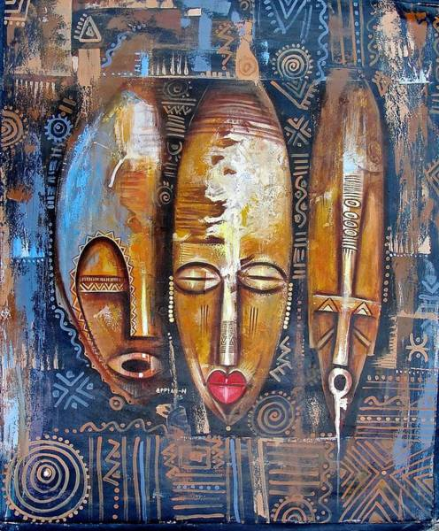 Painting - Three Masks by Appiah Ntiaw