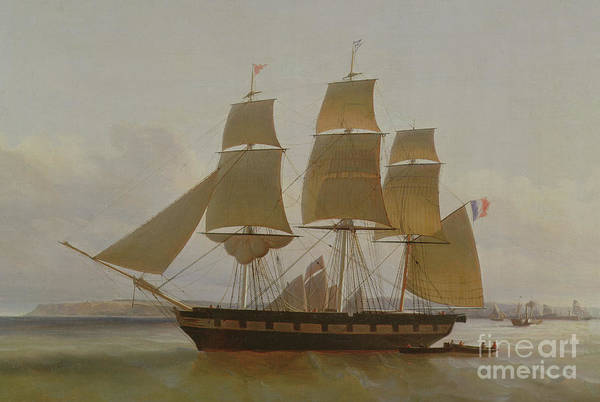 Set Sail Painting - Three Masted Boat, In The Port Of Le Havre by Jean Dominique Drouin