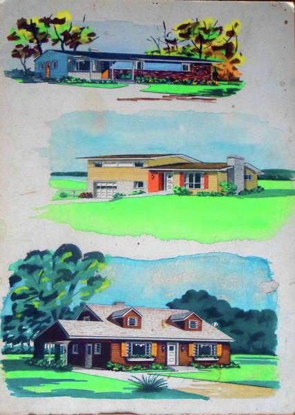 Painting - Three Media Three Houses by Frank Hunter