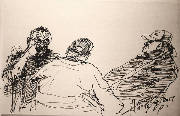 Wall Art - Drawing - Three Men At Tims by Ylli Haruni