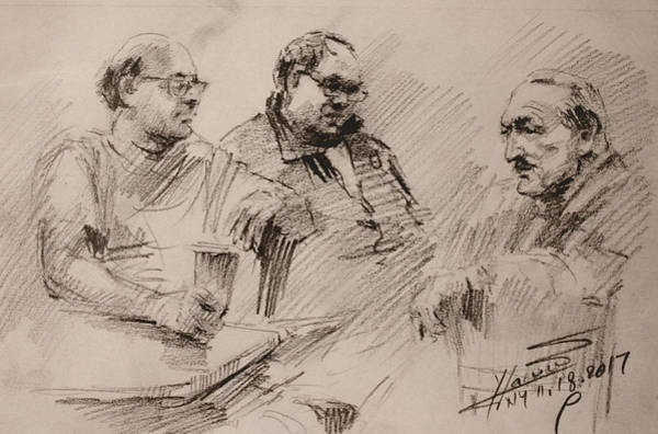 Wall Art - Drawing - Three Men Chatting by Ylli Haruni
