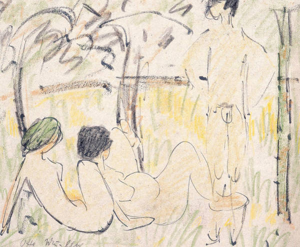 20th Century Man Drawing - Three Nudes by Otto Mueller