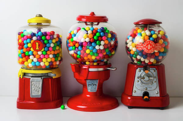 Wall Art - Photograph - Three Old Bubblegum Machines by Garry Gay