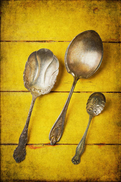 Wall Art - Photograph - Three Old Silver Spoons by Garry Gay