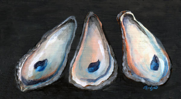Wall Art - Painting - Three Oyster Shells by Elaine Hodges