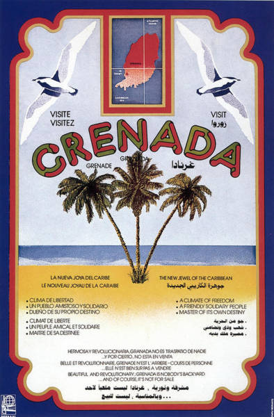 Granada Wall Art - Painting - Three Palm Trees On The Sea Shore In Grenada - Vintage Travel Poster by Studio Grafiikka