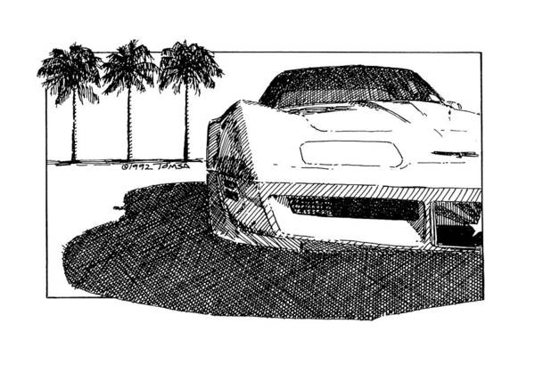 American Car Drawing - Three Palms And Speed - Art By Bill Tomsa by Bill Tomsa