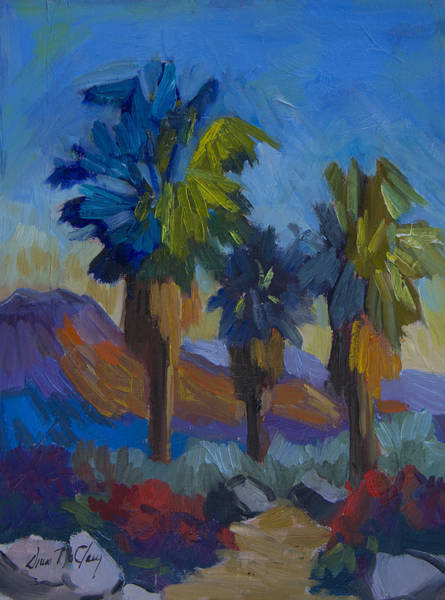 Wall Art - Painting - Three Palms At Palm Desert by Diane McClary