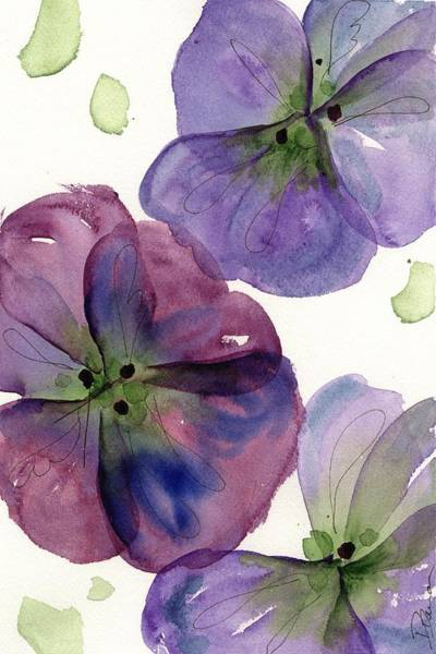 Painting - Three Pansies by Dawn Derman