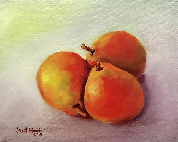 Painting - Three Pears by Janet Garcia