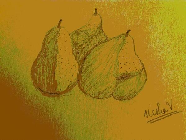 Wallpaper Mixed Media - Three Pears by Nishma Creations