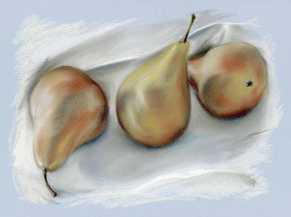 Pastel - Three Pears On A Cloth by MM Anderson