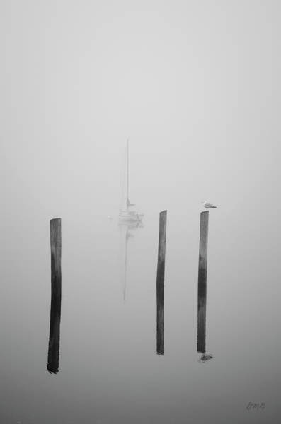 Photograph - Three Pilings And Sailboat by Dave Gordon